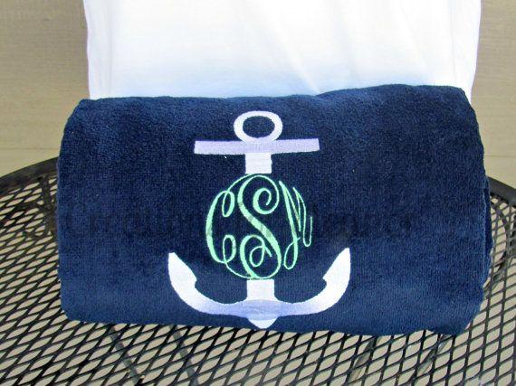 Monogrammed Beach Towel Solid Beach Towel by creationsforeleanor