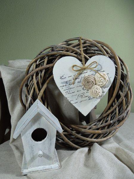 Deko-Objekte - Grosses Herzchen mit Blümchen. - ein Designerstück von Emmart1 bei DaWanda