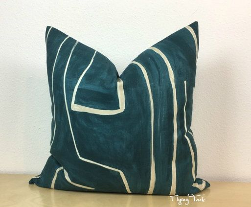 Handcrafted Teal and Pearl/Natural Pillow Cover. Pattern is Graffito by Kelly Wearstler. Knife Edge Finish. Colorway is called Teal/Pearl. Fabulous large scale graphic pattern by Kelly Wearstler. The Pearl/Natural lines are painted onto a Teal background that resembles a canvas. Photos