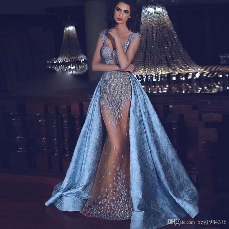 Glamorous Beaded Applique Evening Gown With Over Skirt Deep V Neck Cap Sleeves Mermaid Prom Dress New Elegant Long Evening Dress Formal Wear Nice Prom Dresses One Of A Kind Prom Dresses From Xzy1984316, $157.41| Dhgate.Com