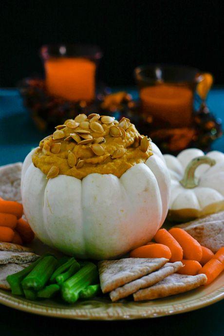 pumpkin hummus served in a little pumpkinPumpkin Recipes, Halloween Parties, Best Recipe, Savory Pumpkin, Pumpkin Hummus, Food, Fall, Eating, Healthy