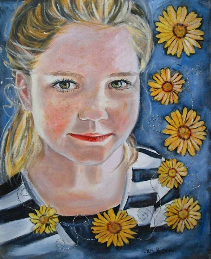 Portrait painting in oils with collage and silver stitching