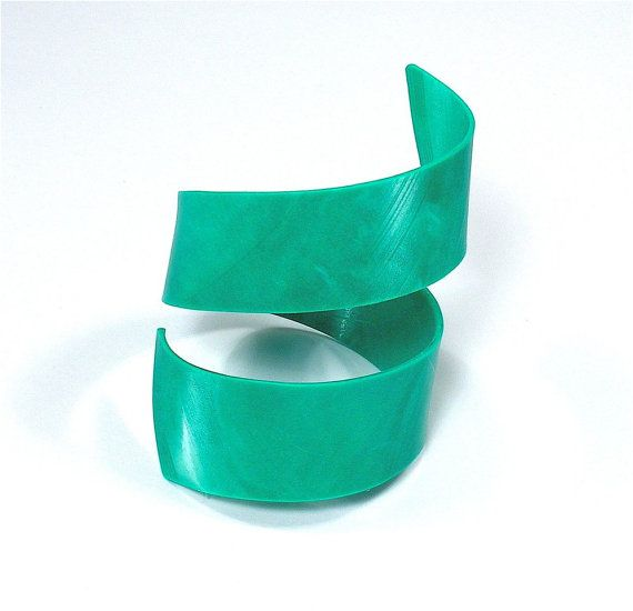 Rare Green Marble Colored Vinyl Record Spiral Cuff Size Small to Medium on Etsy, £11.40