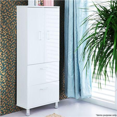 2 Door 2 Drawer Wall Mounted Bathroom Cabinet - Save 75% - High Gloss Varnish, Stylish Modern Design.