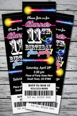 GLOW Birthday Party Invitations... Who knew you could buy downloadables on ebay???