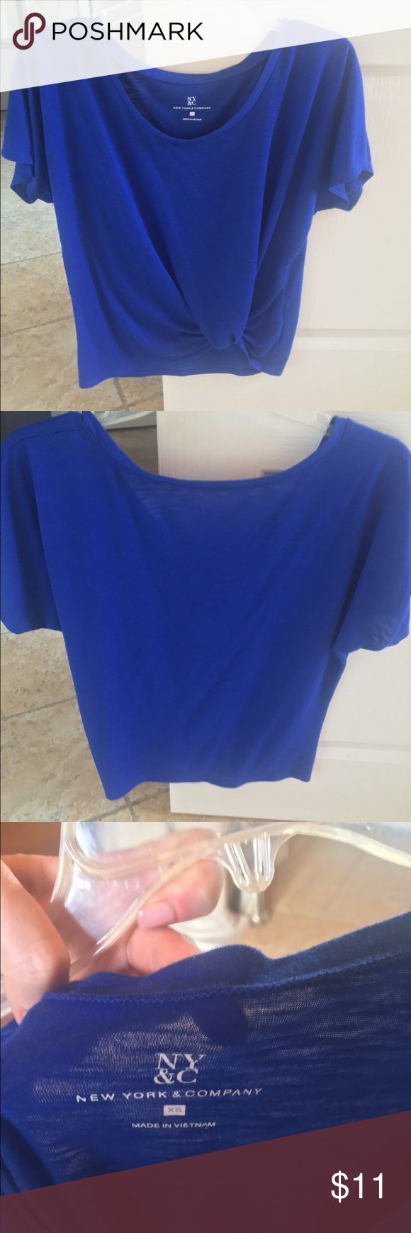 Royal blue top Royal blue NY & Co top with built in knot in front to subtly show off midriff New York & Company Tops