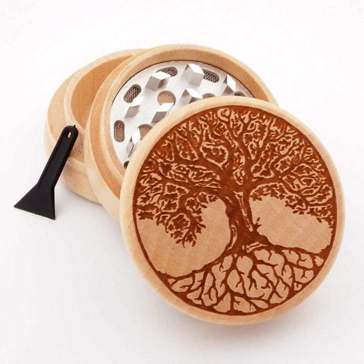 Tree of Life Design Engraved Premium Natural Wooden weed Grinder on amazon