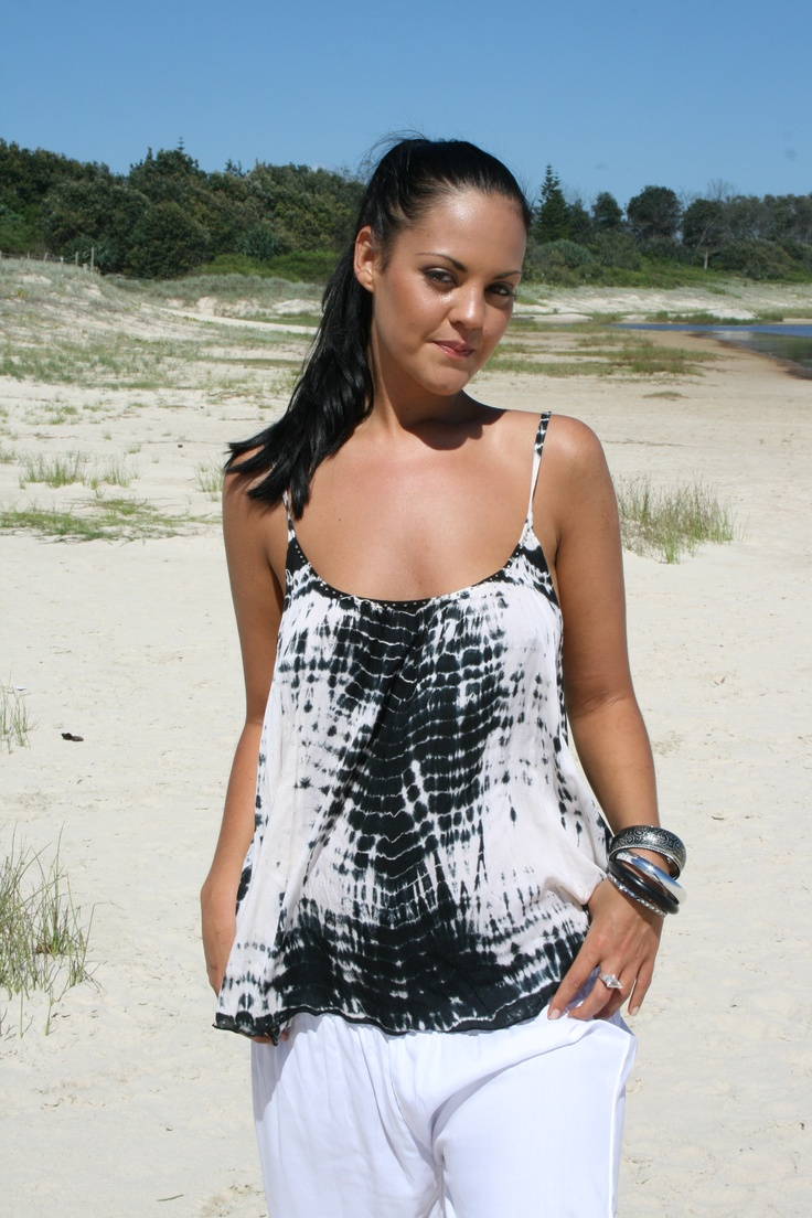 www.ladywatego.com    hand tie -dyed and hand beaded floaty top....