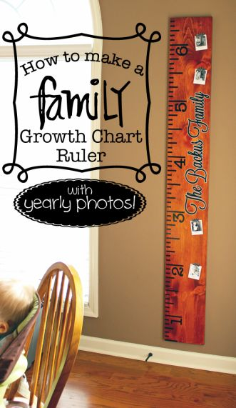 How to make a Family Growth Chart Ruler (with yearly photos).  Easy DIY project that makes great decor or a great gift!  Oh, and FREE cut file available too! #SilhouetteCameo #growthchart