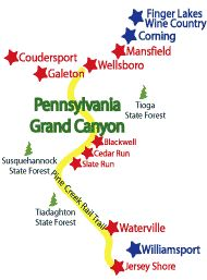 Map showing the PA Grand Canyon region  including the Pine Creek Rail Trail, Wellsboro, Mansfield, Coudersport, Williamsport and Corning. Also there are several State Park areas and the Finger Lakes Wine region.