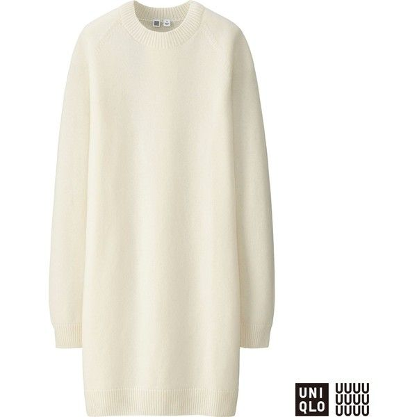 Uniqlo U Cashmere Blend Long Sleeve Dress ($74) ❤ liked on Polyvore featuring dresses, off white, long sleeve dress, vintage white dress, uniqlo, long sleeve loose dress and uniqlo dress