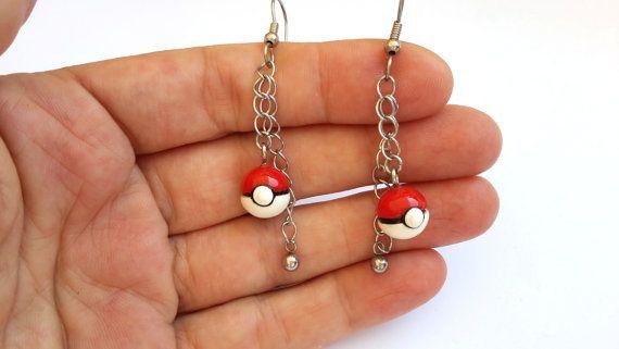 Pokeball earrings Pokemon Pokeball earrings by MACRANI on Etsy