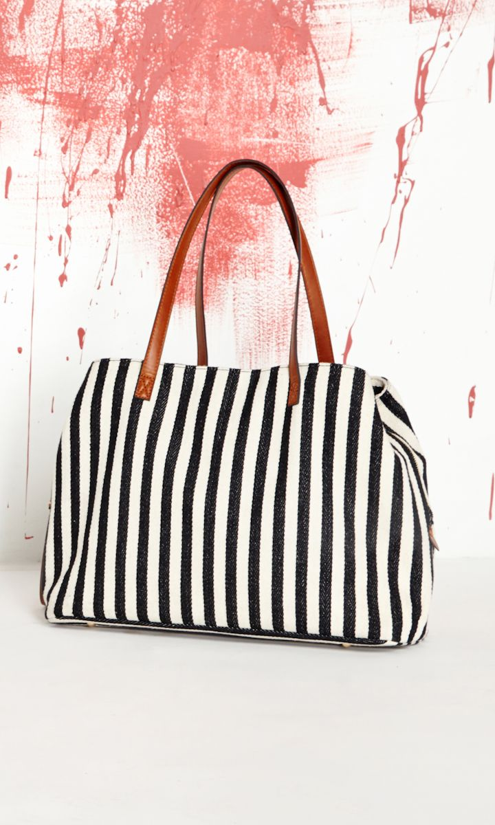 Stripes bag with leather