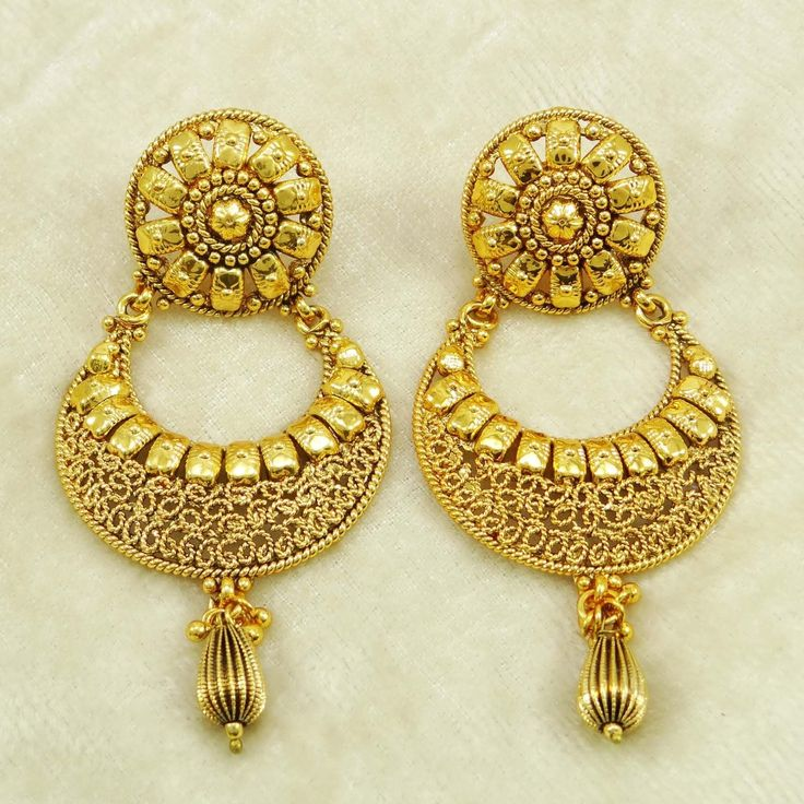 Drop Dangle Earrings With Gold Plated Pattern