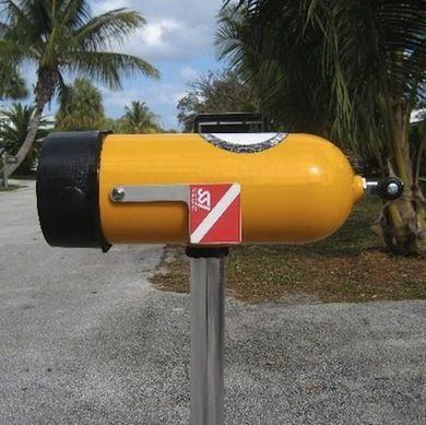 Fun idea! Tanked Up - Mailbox Ideas - Bob Vila.  Might be an idea to use those left over helium tanks from Walmart.