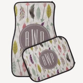 Feathers and Arrows Monogram Set of 4 Car Mats Floor Mat. Personalize with your designs, images, and initials for a special in-ride experience for you and your passengers! http://livinggood-entrepeneural.blogspot.com/2014/11/gifts-for-her-under-100.html