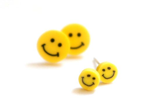 Tiny Baby Miniature Yellow Smiley Face Post by cheapandchicland