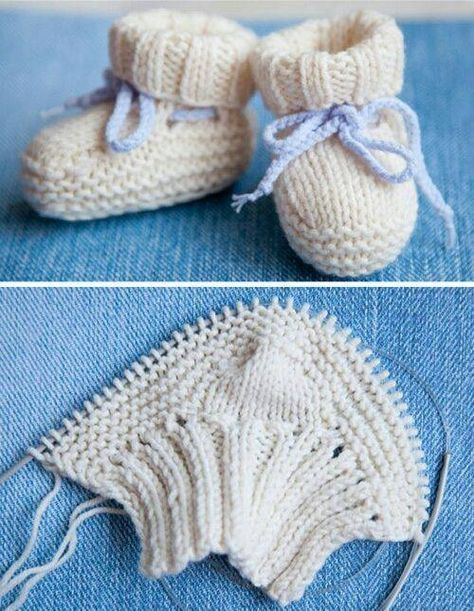 Gestrickte gestreifte Baby Booties Muster   – Knitting Projects