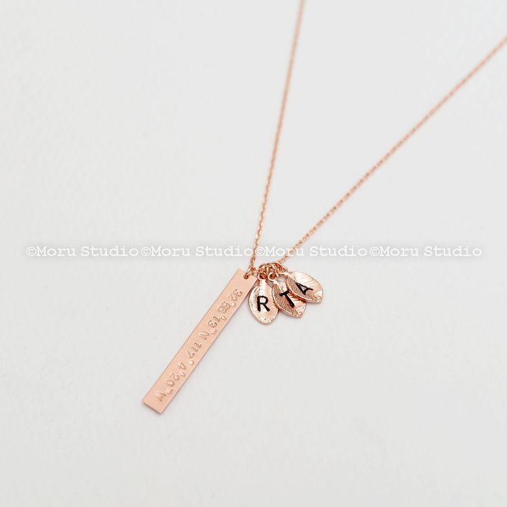 Personalized Vertical Bar Leaf Necklace, Gold Name Bar Necklace/ Birthday, Mothers Day, Coordinates, Bridesmaid Necklace NBR009-4 by MoruStudio on Etsy