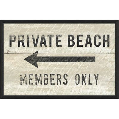 Private Beach Members Only Small Framed Textual Art
