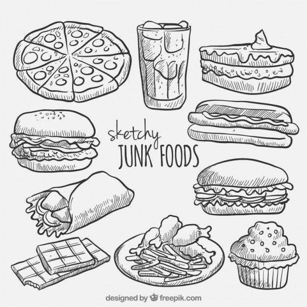 Bosqueja la colección de comida rápida Vector Gratis
