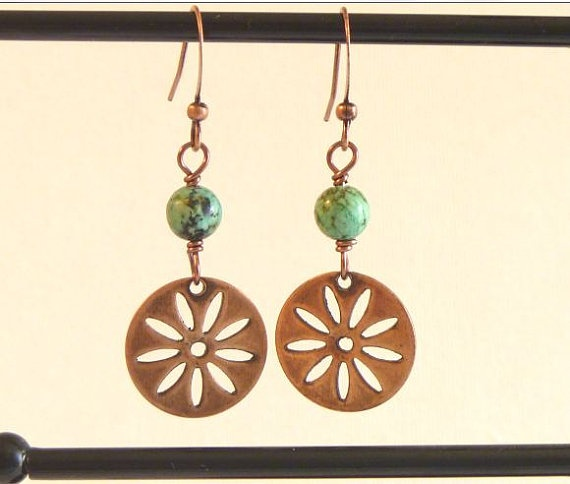 African Turquoise Copper Daisy Dangle Earrings by TheBeadedCottage, $10.00