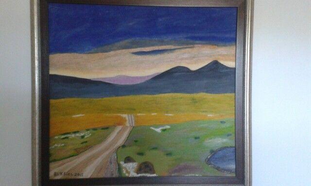 Sunset over the Karoo (Calvinia) , South Africa. Oil paint on canvas. Artist is Charl Blignaut (Blikkies). 2013