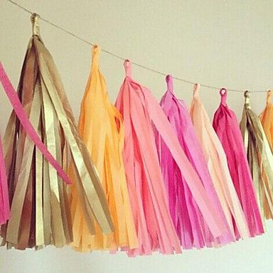 15 Inch (38cm)Tissue Tassel Garlands Paper Garland banners DIY for Wedding Party Decoration(Set of 5) – EUR € 5.99