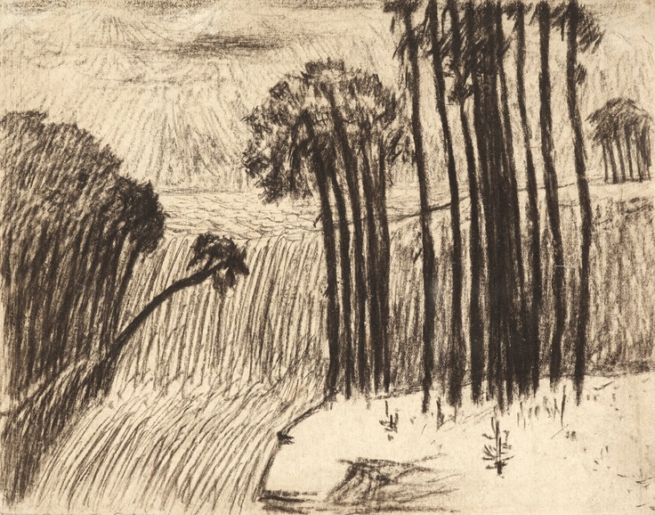 Carl Frederik Hill - Landscape with Trees and Waterfall
