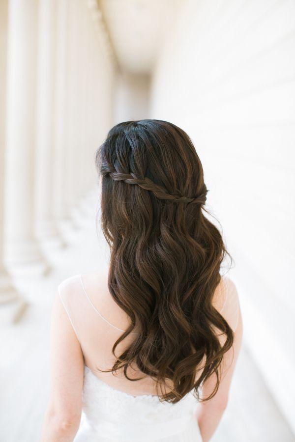 waterfall half up half down braid hairstyle