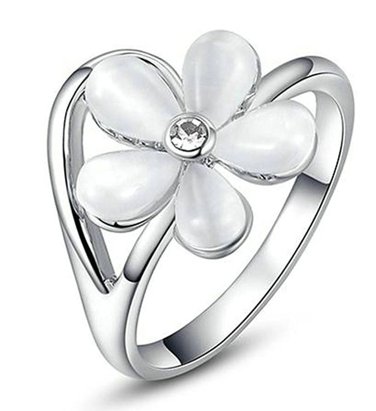 Epinki, Gold Plated Womens Promise Rings Five Petal Flowers Shaped Size 8 White Gold -- Wow! I love this. Check it out now! : Promise Rings Jewelry