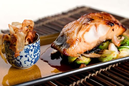 sake kasu black cod, brussels and shitake, soy/ginger reduction, parsnip crisps