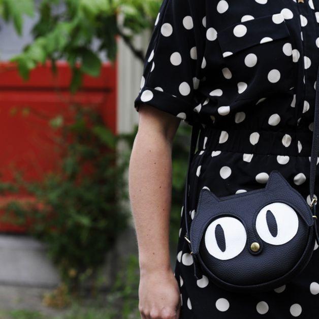 via en.dawanda.com Leather Bags – Original handmade Black Cat Leather Bag, Cats – a unique product by LaLisette on DaWanda