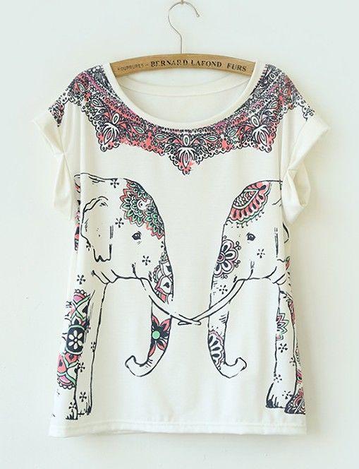 Symmetric Elephant Print Curling Short-Sleeved Cotton T-Shirt