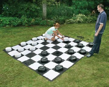Giant outdoor checkers played on a 10' x 10' mat. Fun for all ages. An entertaining giant game, great for your party, event, or outdoor area. You've seen them at malls, cruise ships, parks, and hotels