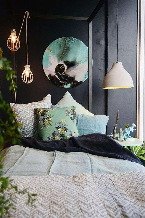 Colori scuri per arredare la camera da letto - Camera da letto in stile orientale