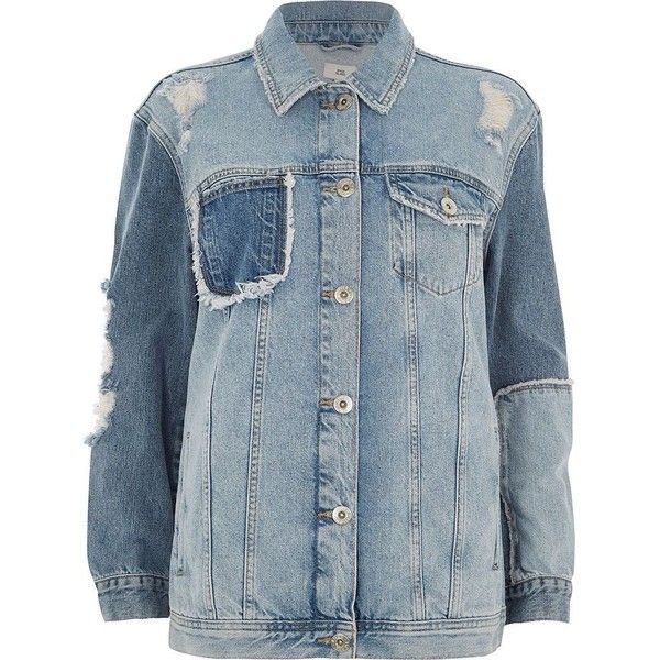 River Island Mid blue reworked oversized denim jacket (160 CAD) ❤ liked on Polyvore featuring outerwear, jackets, blue, coats / jackets, women, oversized denim jacket, tall denim jacket, tall jackets, oversized jean jacket and long sleeve jean jacket