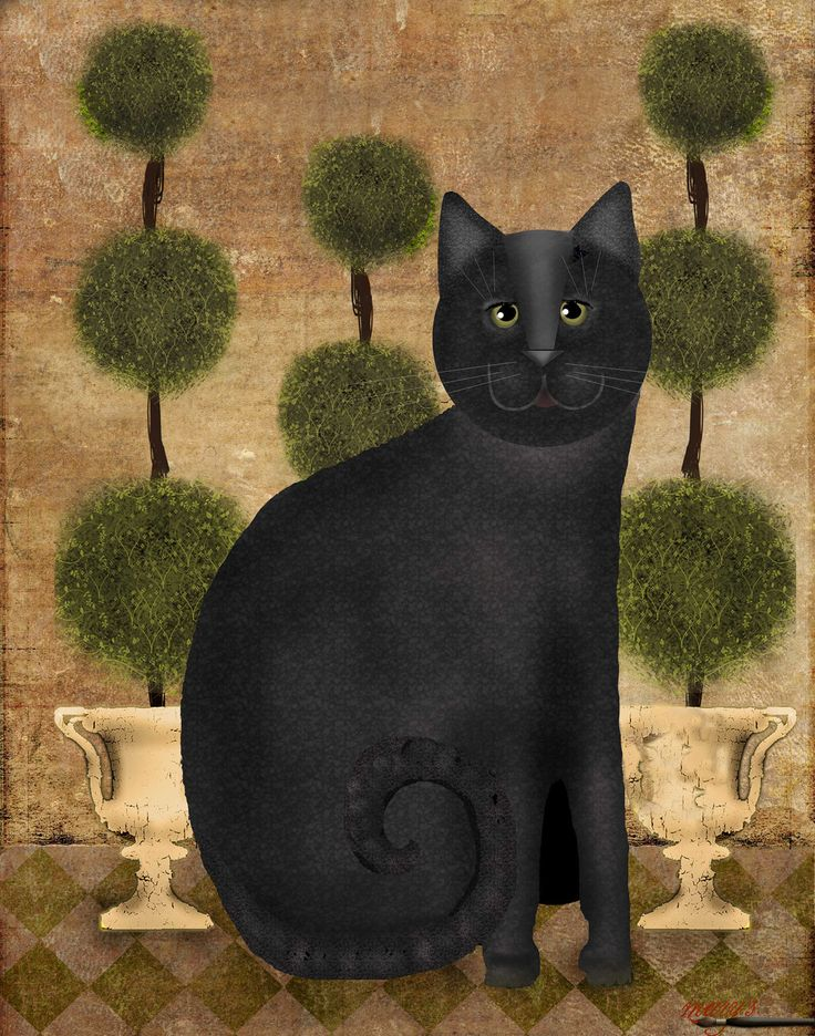Garden Cat Download Print by MarysMontage on Etsy