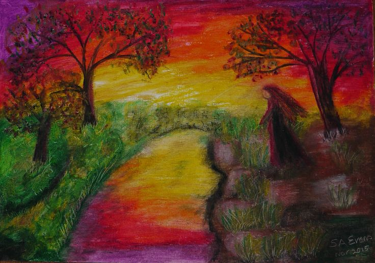 "I decided to experiment with my oil pastes today and this is what I came up with, quite pleased ! ""sunset and another lonely day"" "" #sunset #lonely #trees #water #oil pastels #art"