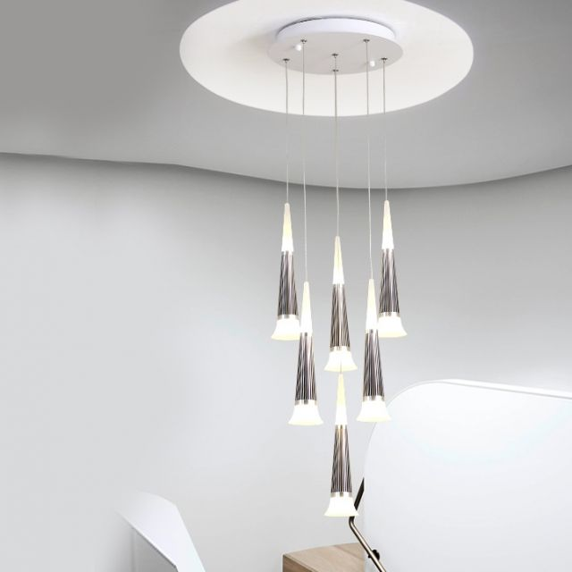 Modern Style Multi Light Starwell Led Hanging Pendant For High Ceiling Foyer Staircase And Restaurant Led Lights High Ceiling Foyer Staircase Hanging Pendants