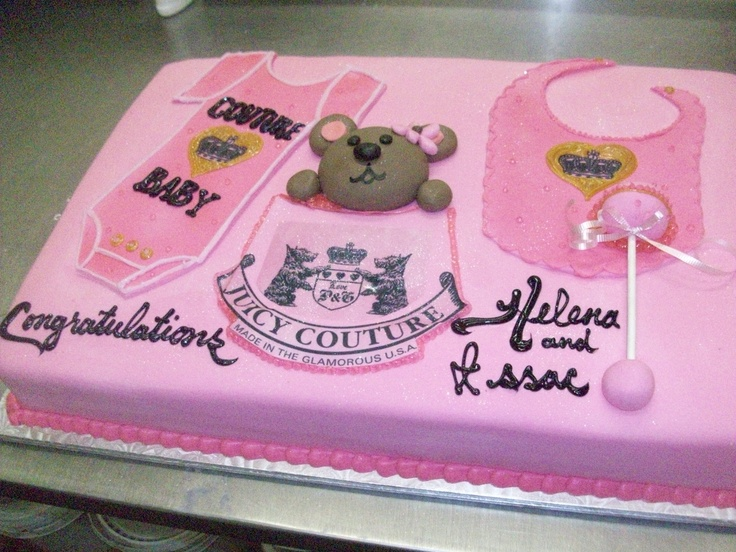Calumet Bakery Couture Baby Shower Cake With Bear.