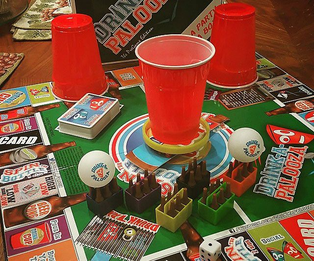 Drink-A-Palooza is a Monopoly-type board game with beer pong, quarters, flip cup, and king's cup all in one. This liver destroying board game requires no fancy equipment and can be played with up to 12 people in teams of 2 – making it a college party must have.