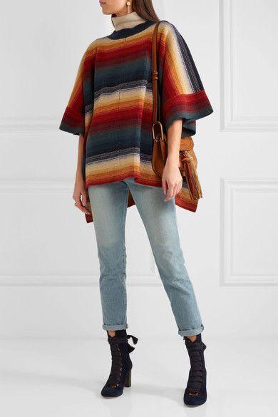Chloé - Merino Wool And Cashmere-blend Poncho - Navy - XS/S