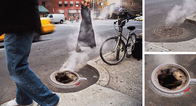 Folgers, inviting you to have some steaming coffee. Street Advertising: Funny, Obnoxious or Just Confusing?