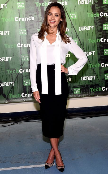 Jessica Alba in a white blouse and Victoria Beckham pencil skirt (cute work outfit idea!)
