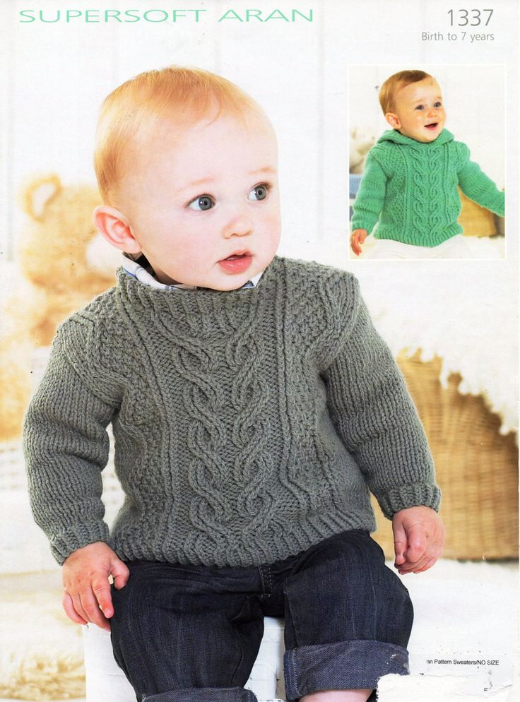 "baby / childs aran sweaters knitting pattern pdf cable hooded jumper aran sweater with hood Vintage 16-26"" aran worsted 10ply Download by Minihobo on Etsy"