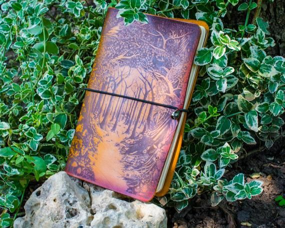 Traveler's notebook planner diary refillable cover made from vegetable tanned leather hand coloring