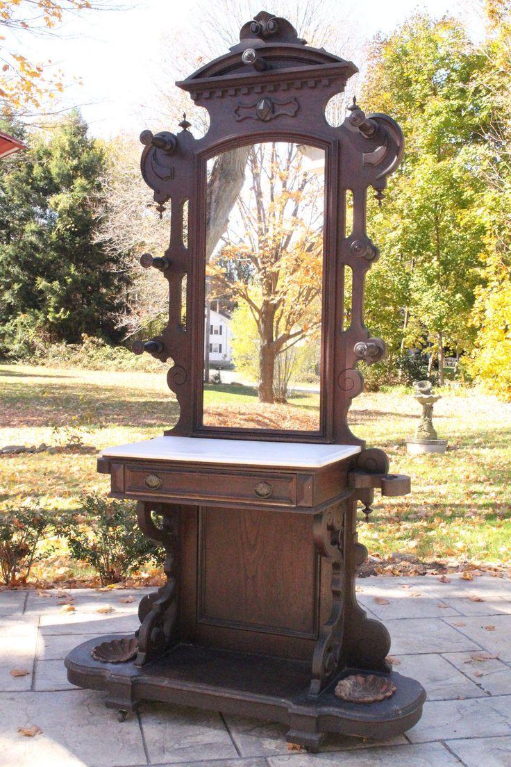 Antique Victorian Eastlake Marble Top Hall Tree Coat Rack