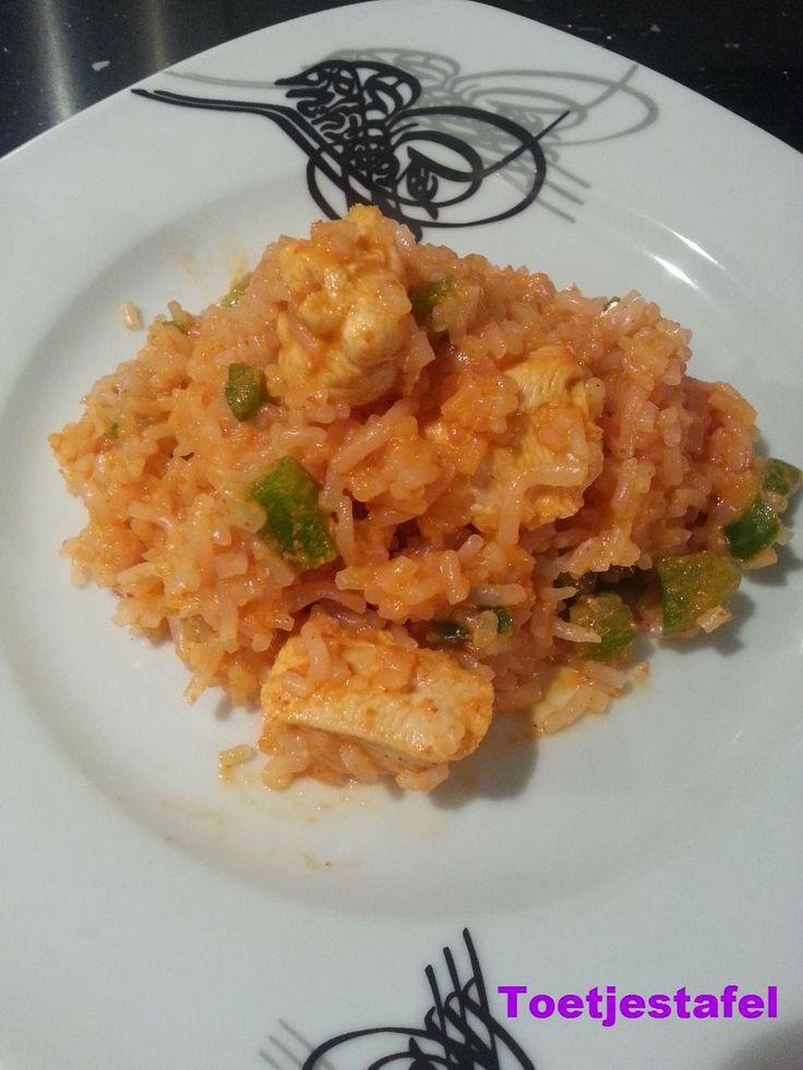 Slim Rijst met curry kip