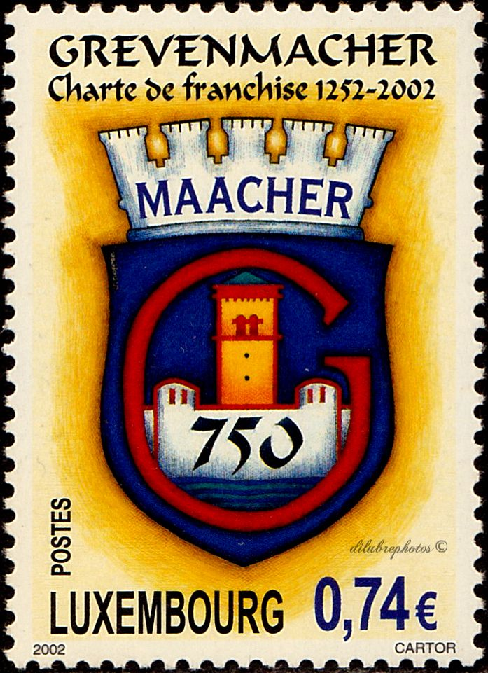 Luxemburg.  Grevenmacher Charter of Freedom, 750th Anniv.  Scott 1098 A446, Issued 2002 Sept. 14,  Perf. 13 1/4x13, Litho., 74c. /ldb.